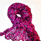 Hot Pink Leopard Print Crinkle Scarf