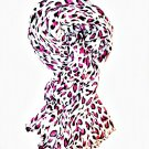 Gray & Pink Leopard Print Crinkle Scarf