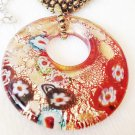 Red toned murano glass pendant and beaded necklace