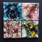 Set of 4 Alcohol Ink Ceramic Tile Coasters