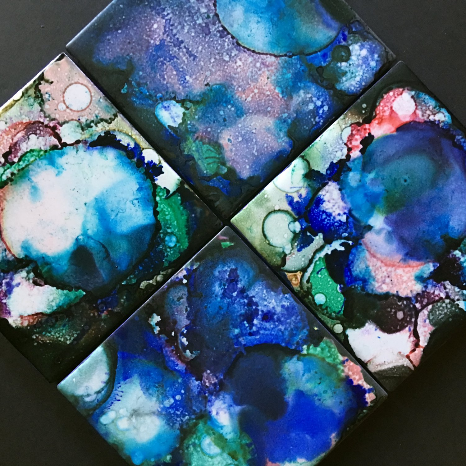 Set of 4 Alcohol Ink Ceramic Tile Coasters