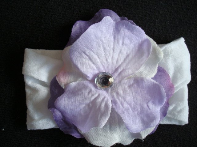Adele/Purple and white flower on White Band