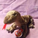 """Ty Beanie Baby """"Scaly"""" Lizard 1999 Retired Green/Gold Scales Red Tongue"""