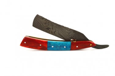 HeCDRK1 Custom Made Damascus Blade Razor Knife & Bone Handle with Leather Sheath