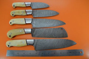 DKKS2 Full Tange Damascus Steel Kitchen Knife Set
