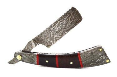 199 RD Straight Razor Knife of Damascus Steel Blade with Walnut Wood on Handle+Sheath