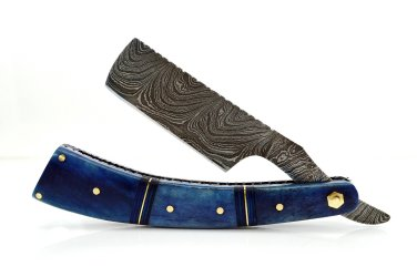 200 RD Straight Razor Knife of Damascus Steel Blade with Colored Camel Bone on Handle+Sheath