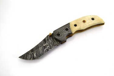 FO 157 HandMade Damascus Steel Folding Knife + Camel Bone on Handle+Leather Sheath 166 FOB