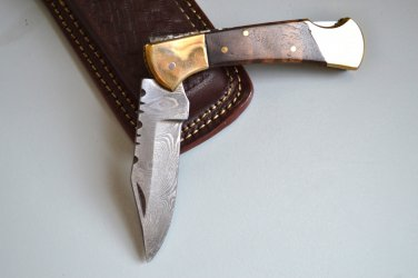 196 FO Damascus Folding Blade with Walnut Wood & Brass Bolsters and Leather Sheath