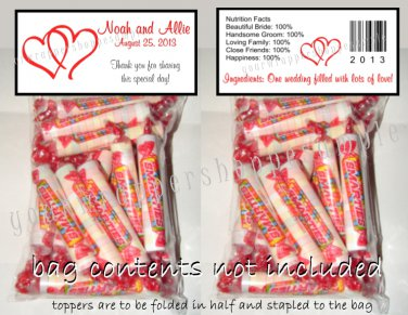 Personalized WEDDING LINKED DOUBLE HEARTS Favors Candy Bags & Toppers Supplies