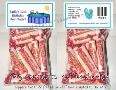 Personalized POOL PARTY SWIM BEACH Birthday Favors Bags & Toppers Supplies