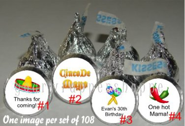 Personalized CINCO DE MAYO FIESTA Kiss Labels Candy Wrappers Party Favors
