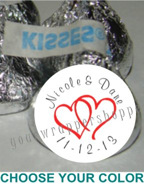 216 Personalized WEDDING DOUBLE LINKED HEARTS Kiss Labels Favors Candy Wrappers