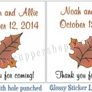Personalized FALL WEDDING Favor Bag TAGS or Sticker LABELS AUTUMN LEAVES