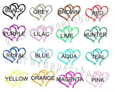 Personalized WEDDING DOUBLE HEARTS Favor Bag TAGS or Sticker LABELS Any Color