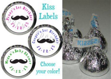 216 MUSTACHE MOUSTACHE Candy Wrappers Kiss Labels Birthday Party Favors Supplies