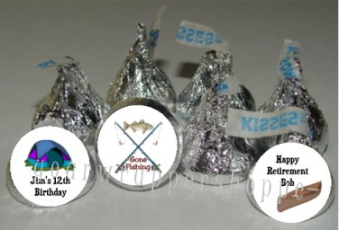 Personalized CAMPING FISHING Candy Kiss Labels Favors Birthday Party Supplies