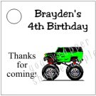 Personalized MONSTER TRUCK JAM Birthday Favor Bag TAGS Unique Party Supplies