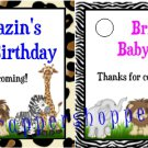 Personalized JUNGLE SAFARI Baby Shower 1st Birthday Favors TAGS Party Supplies