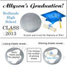 GRADUATION CAP Party Favors Scratch Off Tickets Game Supplies CHOOSE YOUR COLOR!