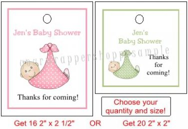 Personalized BABY SHOWER Favor Bag TAGS Unique Party Supplies