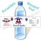 Personalized 4th OF JULY Water Bottle Labels WATERPROOF VINYL STARS & STRIPES