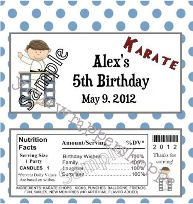 Personalized KARATE Birthday Party Candy Wrappers Party Favors TAE KWON DO