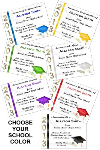 Personalized GRADUATION Announcements Invitations ALL SCHOOL COLORS