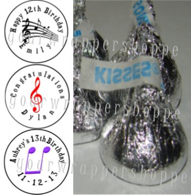 108 MUSICAL NOTES MUSIC Candy Kiss Labels Birthday Party Favors Supplies RECORDS