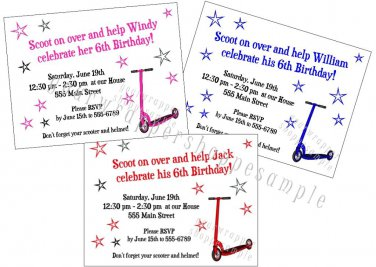 Personalized SCOOTER Birthday Party Invitations envelopes BOY GIRL Red Blue Pink