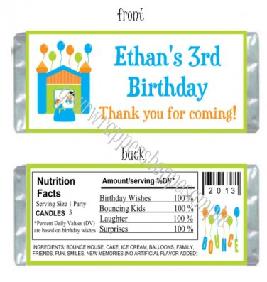Personalized BOUNCE HOUSE Birthday Party Large Candy Wrappers Favors Supplies
