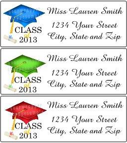 30 Personalized CLASS of 2013 GRADUATION CAP with TASSEL Return Address Labels