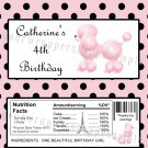 Personalized PINK POODLE Candy Bar Wrappers Favors Supplies BABY SHOWER BIRTHDAY