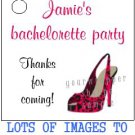 Personalized HOT PINK BRIDAL SHOWER Gift TAGS Stickers or LABELS Party Supplies