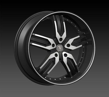"24"" Velocity VW125 Wheels  Rim 22x9.5 Machine Black 5x115"