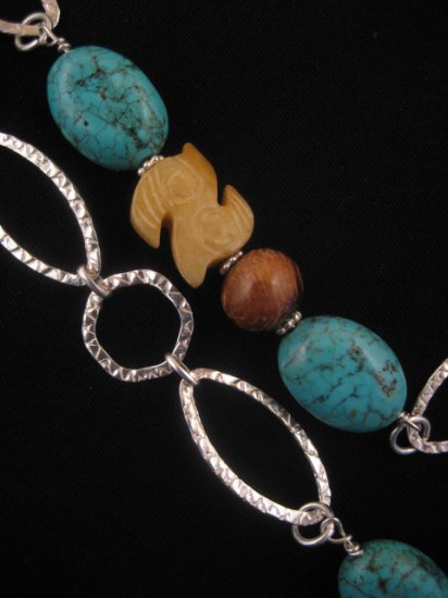 Turquoise, Jade & Wood Necklace : DMD1033