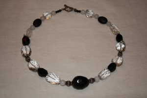 Agate, Onyx and Faceted Crystal Necklace - DMD 0218