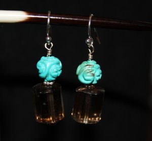 Hand Carved Turquoise Earrings - DMD0236