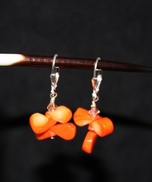 Orange Coral Teardrop Earrings - DMD0254