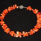 Orange Coral Teardrop Necklace - DMD0042
