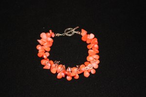 Orange Coral Teardrop Bracelet - DMD0048
