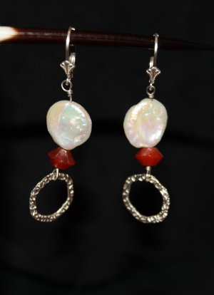 Carnelian and Pearl Earrings - DMD0258