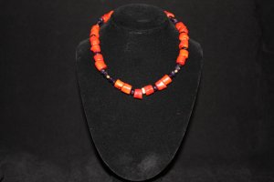 Red Coral and Purple Amethyst  Necklace - DMD0306