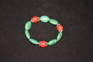 Turquoise and Red Sponge Bracelet - DMD 1912