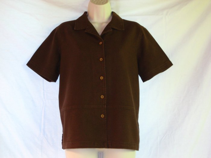 Earthy Flax Linen Cocoa Short Sleeve Shirt S M