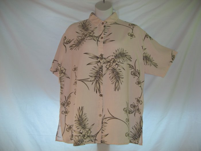 TENCEL Flax Linen TROPICAL FLORAL short sleeve shirt 3X