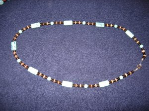 Turquoise-like necklace with bronze spacer beads