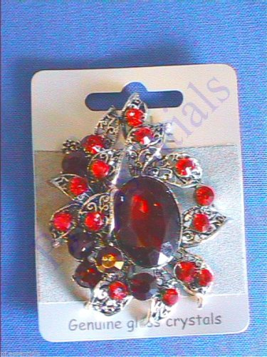 Large Vintage Silver Coloured Crystal Brooch with Oval Centre Stone. BNWT