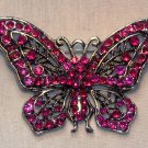 Antique Silver Large Butterfly Crystal Brooch