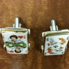 Vintage Swank Cufflinks - Porcelain Playing cards